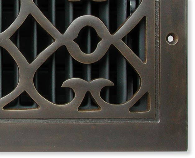 Bell Foundry return air grille in solid cast dark oil rubbed bronze