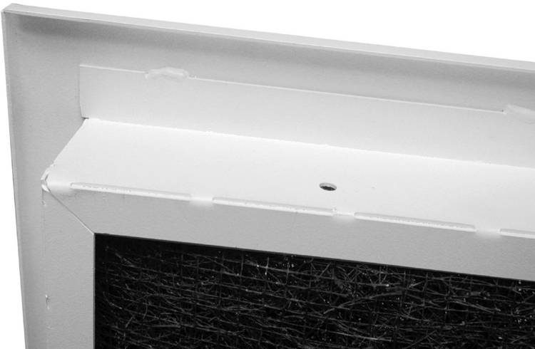turn of the century style return air grille with filter back view closeup