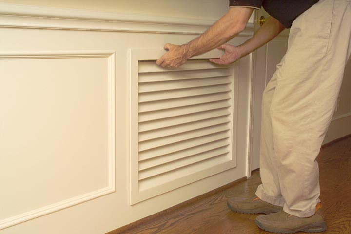 Millwork Wood Grille : Removing old return air grille in preparation for